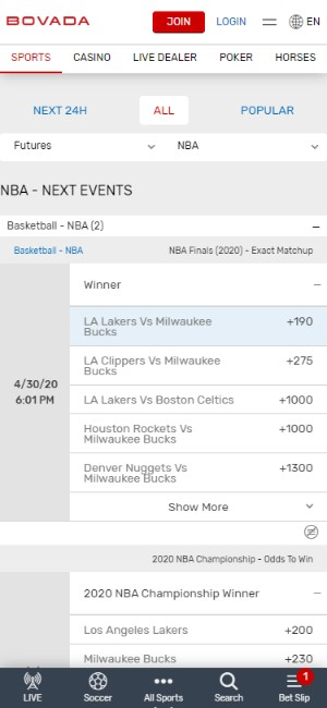 Bovada Mobile Experience
