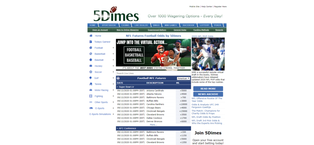 5Dimes Betting Lines