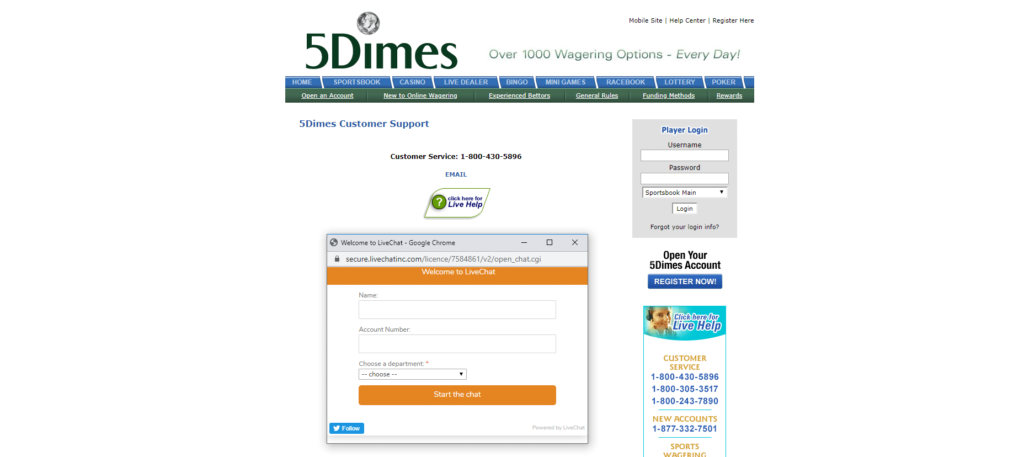 5Dimes Customer Support