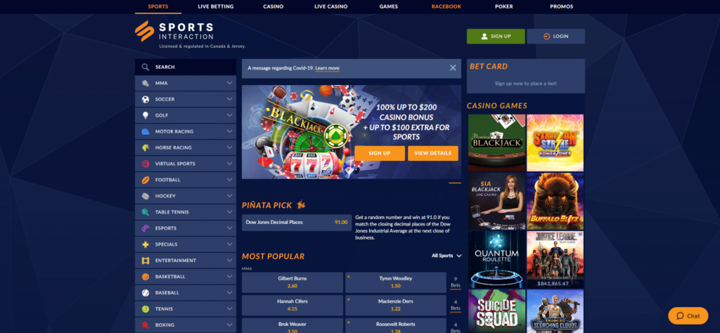 Sports Interaction Home Page