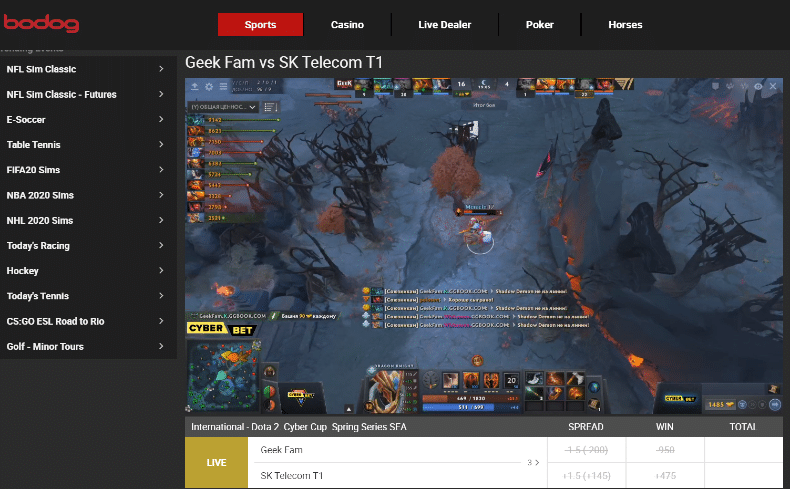 Bodog Live Betting and Streaming
