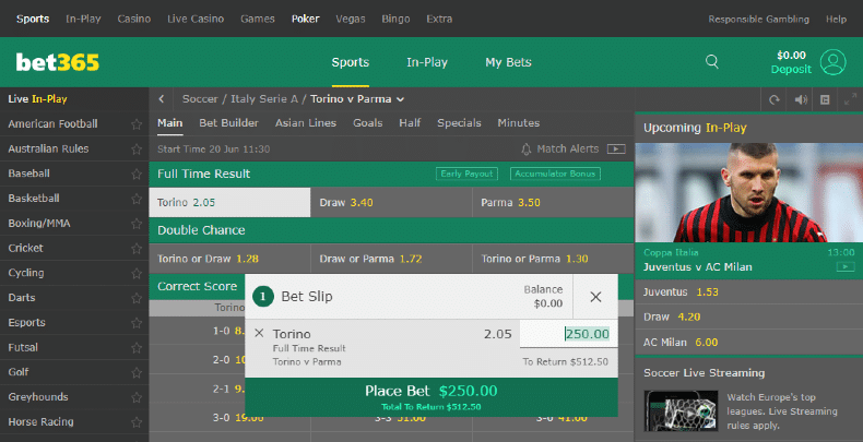 Bet365 Betting Experience