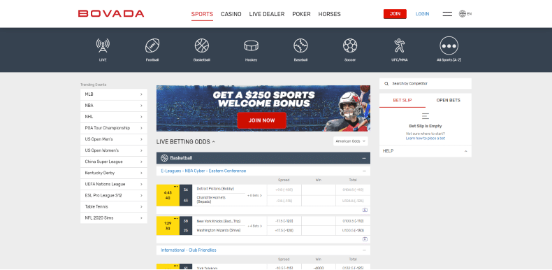 Bovada Home Page